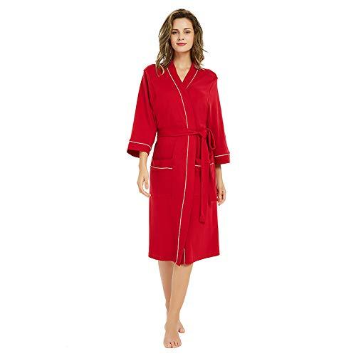 (M&M Mymoon Womens Cotton Robe Soft Breathable Kimono Robes Knit Bathrobe Loungewear Short Sleepwear Burgundy)