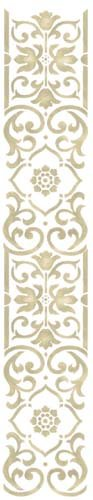 (Vertical Scroll Wall Stencil SKU #3386 by Designer Stencils)