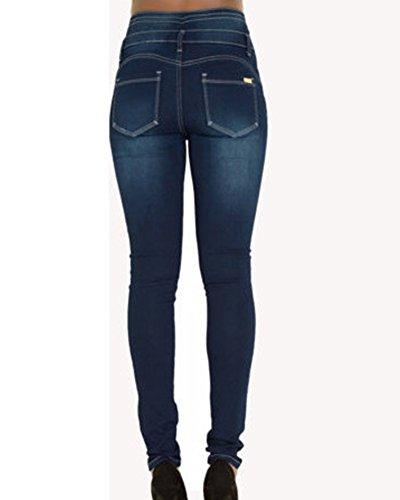 Azul Push Jeans Up Mujer Elástico Pantalones Skinny Cintura Vaquero Leggings Alta qBWgwRvTU