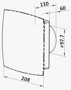 Hygrostat und Nachlauf-Timer Design-Abluftventilator mit elektrischem Innenverschluss Jalousie