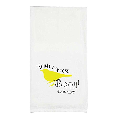 Today I Choose Happy Psalm 118:24 Yellow Bird All Cotton 18 x 22 Kitchen Tea Towel Pack of 2