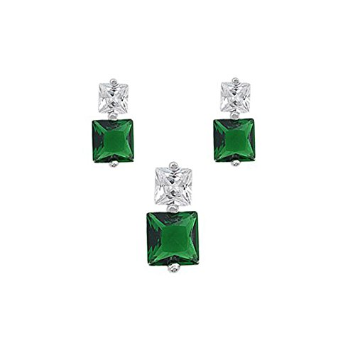 Sterling Silver Luxurious Emerald Simulated Princess Cut Earrings and Pendant Set on Tension -