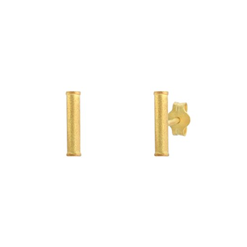 Bar Stud Earrings - 925 Sterling Silver Plated with 18K Matte Yellow Gold