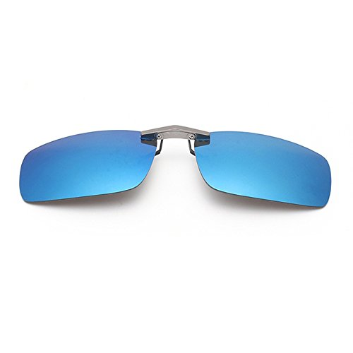 Tacloft Unisex Rectangle 57mm Polarized Clip on Sunglasses CLIPON2015 Iceblue
