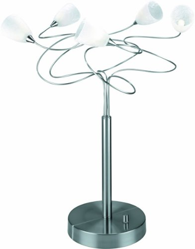 - Lite Source LS-2588PS/FRO Wiggly 5-Lite Table Lamp, Polished Steel with Crackled Frost Glass