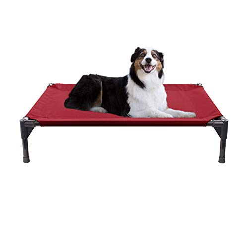 Veehoo Elevated Dog Bed, Portable Raised Pet Cot, Waterproof & Breathable Mat, No-Slip Feet, Durable 1680D Oxford Fabric, Indoor or Outdoor Use, Type B | Medium | Red