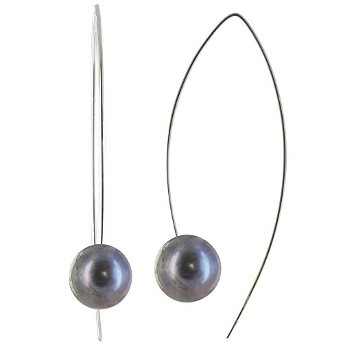 Les Poulettes Jewels - Sterling Silver Hook and 11 mm Round Dyed Dark Grey Cultured Freshwater Pearls