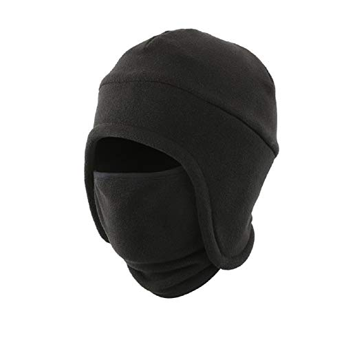 LLmoway Men's Warm 2 in 1 Hat Winter Fleece Earflap Skull Sports Beanie Ski Mask Windproof Cap Black ()
