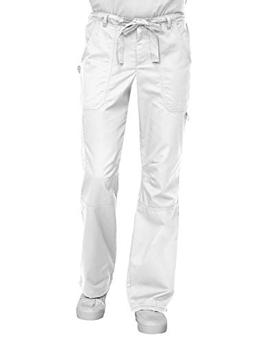 KOI James Elastic Men's Scrub Pants with Zip Fly and Drawstring Waist, White, Medium