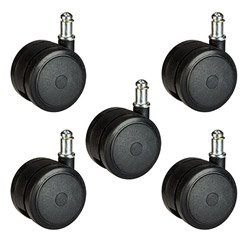 Heavy Duty Office Chair Casters 2-3/8'' (60mm) Soft Hardwood Floor Safe Wheels Set of 5 by Shepherd Caster