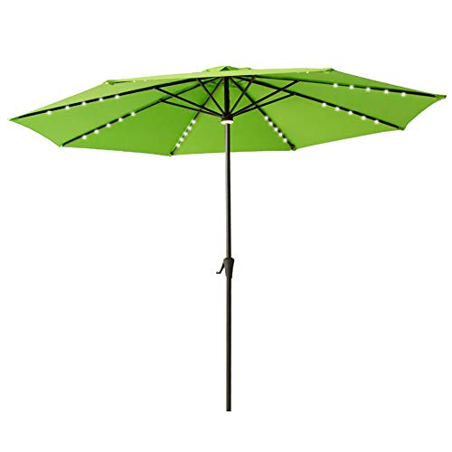 Heavy Duty Patio Umbrella - FLAME&SHADE 11' Outdoor Market Patio Umbrella with Solar Power LED Lights for Terrace Table Outside Deck or Garden, Apple Green