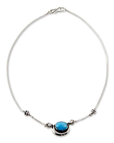 NOVICA Reconstituted Turquoise .925 Sterling Silver Pendant Necklace, 16