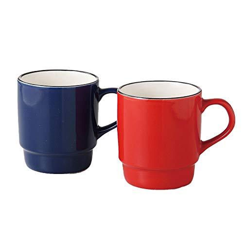 Stacking Ceramic Minoyaki Mug in Blue and Red Sleek Modern Design (Made in Japan)