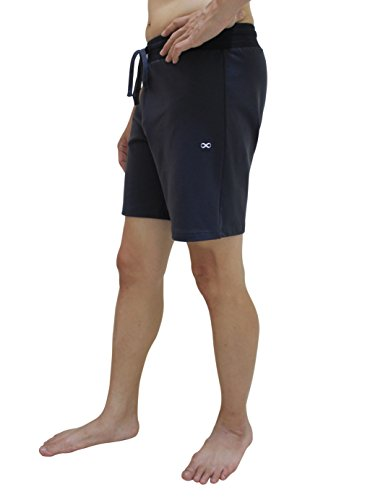 YogaAddict Yoga Shorts For Men, Grey with Inner Liner - Size M