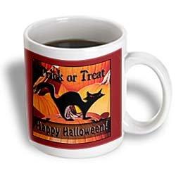 3dRose Black Cat on Pumpkins Trick or Treat Happy Halloween Ceramic Mug, 11-Ounce ()
