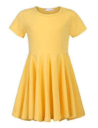 Balasha Girls Short Sleeve Dress A-line Swing Skater Dress ()