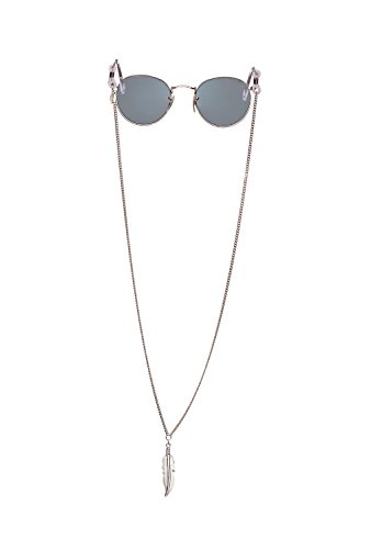 Sintillia Feather Drop Sunglass Strap, Glasses Chain, Eyeglass Cord, Silver with Clear Attachments
