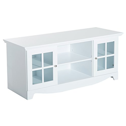HomCom 56″ TV Stand Entertainment Center Storage Console Cabinet – White