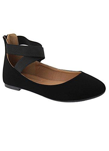 (ANNA Dana-20 Women's Classic Ballerina Flats Elastic Crossing Straps (8.5 B(M) US, Black)