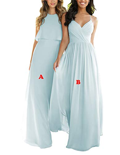 Nicefashion Women's 2019 Simple Sweetheart Floor Length Keyhole Open Back Boho Wedding Party Dresses Pale Blue US10