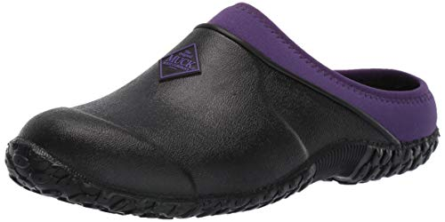 (Muck Boot Women's Muckster Clog, Black/Purple, 7 Regular US)