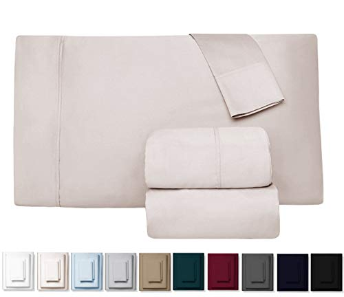 Kemberly Home Collection 600 Thread Count 100% Long Staple Egyptian Pure Cotton - Sateen Weave Premium Bed Sheets, 4 - Piece Ivory Queen - Size Luxury Sheet Set, Fits mattresses Upto 18