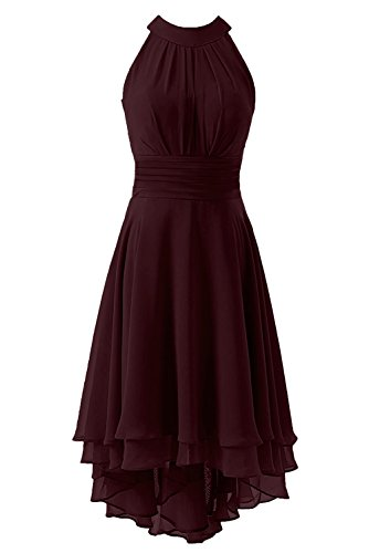 Kevins Bridal Women's High Low Short Bridesmaid Dresses Chiffon Halter Prom Dress Burgundy Size 6