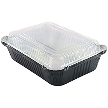 KitchenDance Disposable Colored Aluminum 3.75 Pound Take Out Pans. Color and Lid Options (with Plastic Lids, Black, 25)