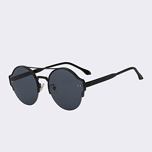gafas plata UV400 lentes metal hombres de sol gafas nuevo Black w moda de diseño Marca de doble en de calidad Vigas espejo TIANLIANG04 vintage remache mujer black alta de de w1qvw