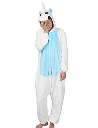 Pijama disfraz anime Lath.Pin Kigurumi, unisex, para adultos, una pieza, para fiesta, halloween Unicornio Azul M