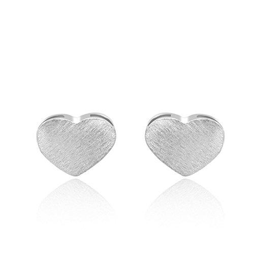 AmDxD Jewelry Silver Plated Women Stud Earrings Heart (Celtic Skull Zippo Lighter)