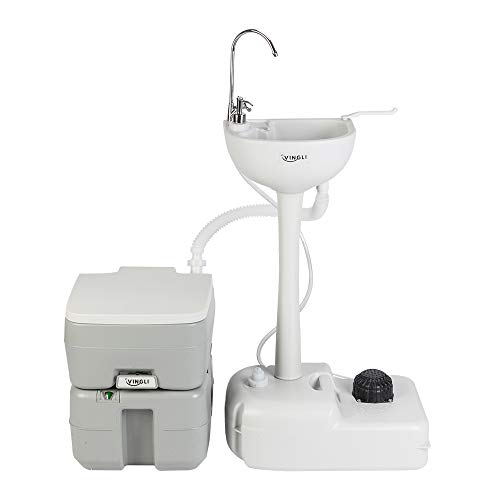 - VINGLI Upgraded Portable Sink and Toilet Combo| Self-contained 5 Gal Hand Washing Station & 5.3 Gal Flushing Toilet, Perfect for Camping/RV/Boat/Road Tripper/Camper, Detachable & Lightweight