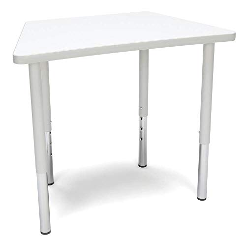 OFM TRAP-LL-WHT Adapt Series Trapezoid Standard Activity Table - Height Adjustable Desk 23-31″, White