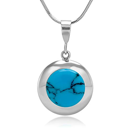 Chuvora 925 Sterling Silver Natural Blue Turquiose Gemstone Inlay Round Pendant Necklace, 18 - Inlay Pendant Gemstone