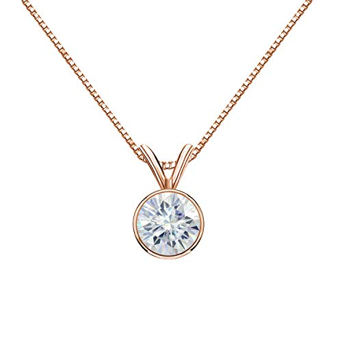 Diamond Wish 14K Rose Gold Round Moissanite Solitaire Pendant 6.5mm 1 TGW in Bezel (O.White) 18