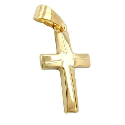Pendant Kreuz matt-diamantiert 9Kt GOLD