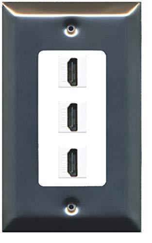 RiteAV - 3 Port HDMI 2.0 Decorative Wall Plate - Brushed Nickel/White