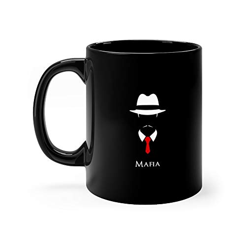 White Silhouette Of An Italian Mafia With A Red Tie On Black Ganster Water Mug Ceramic 11 Oz Cup ()