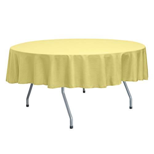 - Ultimate Textile Reversible Shantung Satin - Majestic 72-Inch Round Tablecloth Cornsilk Light Yellow