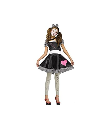Fun World Women's Broken Doll, Black, Junior (Halloween Costume Ideas Doll)