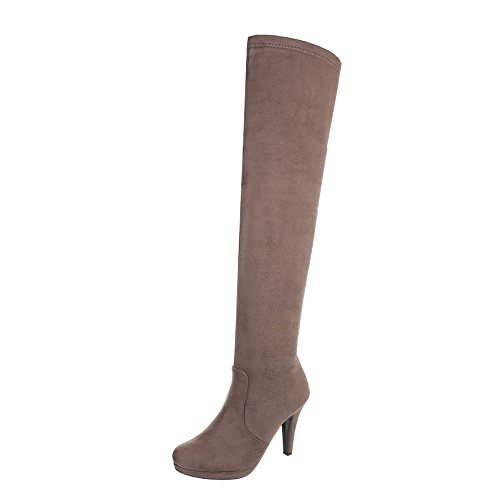 at Over Design Brown Women's Boots Light Stiletto Knee Boots Ital EXwq0wnF