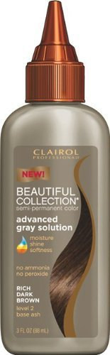 Clairol Beautiful Collection Advanced Gray Solution Hair Color - #2A - Rich Dark Brown 3 oz. (Pack of 6) by Clairol