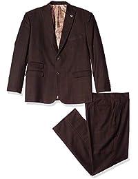 Men's 3-Piece Peak Lapel Plaid Windowpane Vested Suit