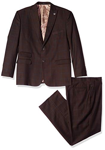 - STACY ADAMS Men's Big and Tall 3-Piece Peak Lapel Plaid Windowpane Vested Suit, Brown 50 Long