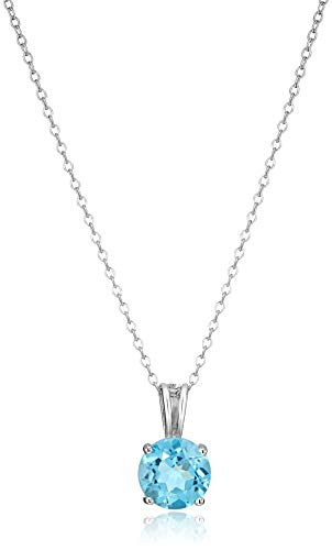 Amazon Essentials Sterling Silver Round Cut Swiss Blue Topaz Birthstone Pendant Necklace (December), 18