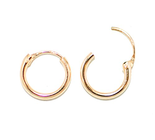 14K Gold EasyOn Hinged Continuous Endless Hoop Earrings (1.5mm Tube), All Sizes