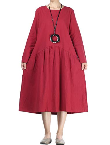 a5ee239bb5 Mordenmiss Women s Pleated Mid Dress Cotton Linen Long Sleeve Dresses with  Pockets