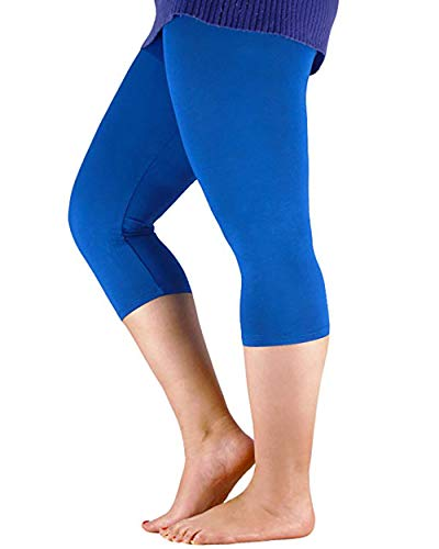 Century Star Women's Modal Plus Size Basic Solid Capri Leggings Royal Blue US 1X Plus-US 2X Plus(Tag - Bamboo Yoga Clothes
