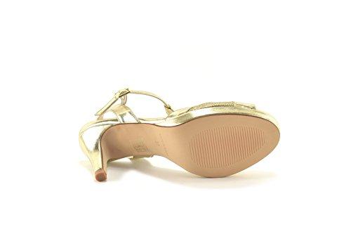 ConBuenPie by ENYA - New Collection - Sandalia de Piel metalizada de Mujer para Vestir & Fiesta Colores Negro, Plata y Platino Platino