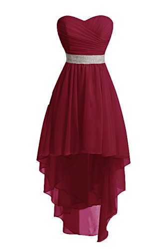 Chengzhong Sun Women High Low Lace Up Prom Party Homecoming Dresses (4, Burgundy)